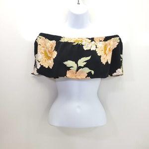 ASOS Black Floral Bandeau Crop Top